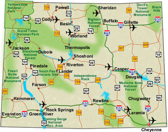 Highway Map - Wyoming map