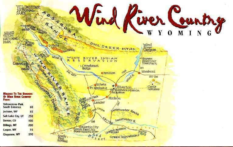 Wind River Range Wyoming Map.Wind River Range Absaroka Range Descriptions